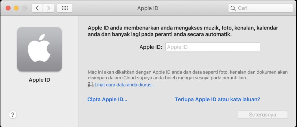 Dialog Apple ID bersedia untuk entri nama Apple ID. Pautan Cipta Apple ID kelihatan yang membenarkan anda mencipta Apple ID baru.