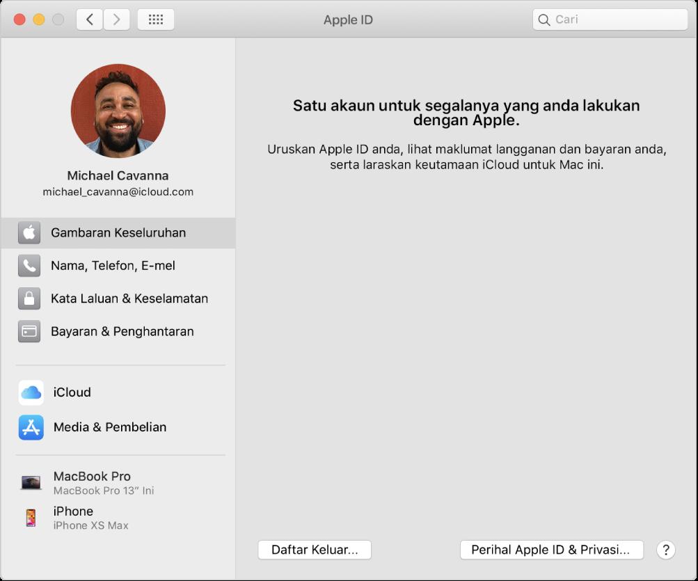 Keutamaan Apple ID menunjukkan bar sisi jenis pilihan akaun berlainan yang anda boleh gunakan dan keutamaan Gambaran Keseluruhan untuk akaun sedia ada.