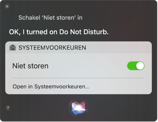 """Het Siri-venster met een verzoek om de taak """"Zet 'Niet storen' aan"""" uit te voeren."""