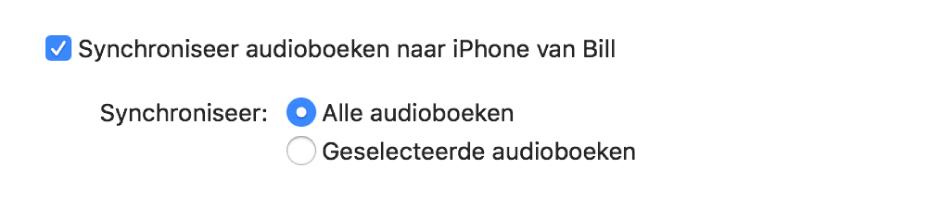 Het aankruisvak 'Synchroniseer audioboeken naar [apparaat]' is te zien, de knop 'Alle audioboeken' is ingeschakeld en de knop 'Geselecteerde audioboeken' is uitgeschakeld.