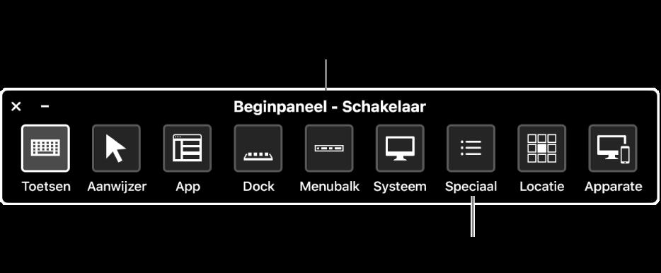 Het beginpaneel van Schakelbediening is uitgerust met knoppen waarmee je van links naar rechts het volgende regelt: toetsenbord, aanwijzer, app, Dock, menubalk, systeemregelaars, aangepaste panelen, schermlocatie en andere apparaten.