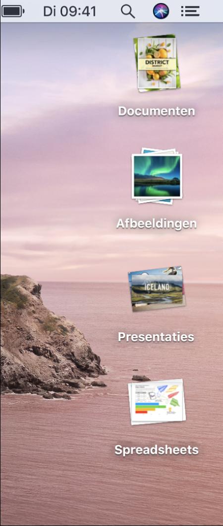 Een Mac-bureaublad met vier stapels voor documenten, afbeeldingen, presentaties en spreadsheets aan de rechterrand van het scherm.
