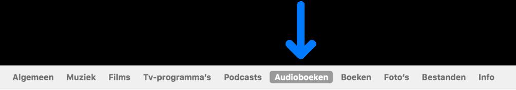 De knoppenbalk met 'Audioboeken' geselecteerd.