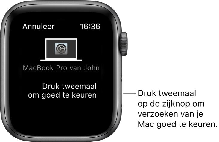 Een AppleWatch waarop een autorisatieverzoek van een MacBookPro te zien is.