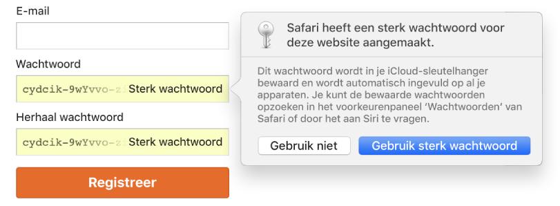 Er wordt een dialoogvenster weergegeven waarin staat dat Safari een sterk wachtwoord heeft aangemaakt voor een website en dat dit wachtwoord wordt bewaard in de iCloud-sleutelhanger van de gebruiker en dat het automatisch op de apparaten van de gebruiker wordt ingevuld.