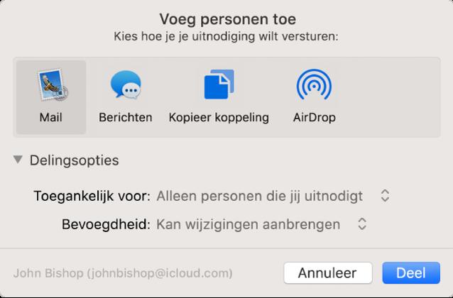 Het venster 'Voeg personen toe' met apps waarmee je uitnodigingen kunt aanmaken en de opties voor het delen van documenten.