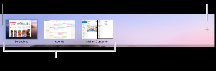De Spaces-balk met een bureaublad, apps in de schermvullende weergave en in SplitView, en een knop voor het aanmaken van een space.