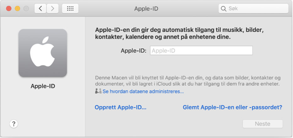 Apple-ID-dialogruten er klar for innskriving av et Apple-ID-navn. En lenke for Opprett Apple-ID vises, og lar deg opprette en ny Apple-ID.