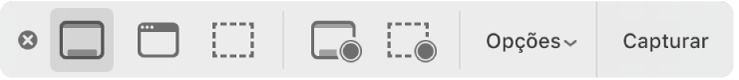 O painel de ferramentas do Captura de Tela.