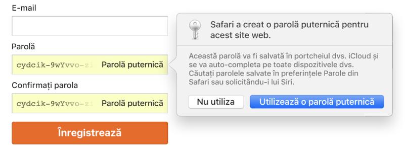 O alertă Safari arătând că Safari a creat o parolă puternică pentru un site web și o va salva în Portchei iCloud.
