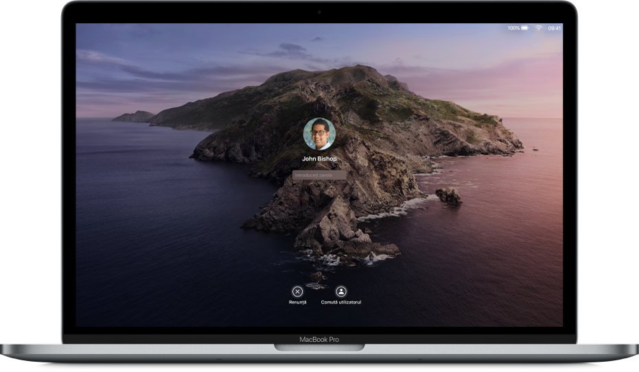 Un desktop Mac afișând un ecran de login blocat cu un câmp pentru parolă în centru și un buton Renunță în partea de jos.