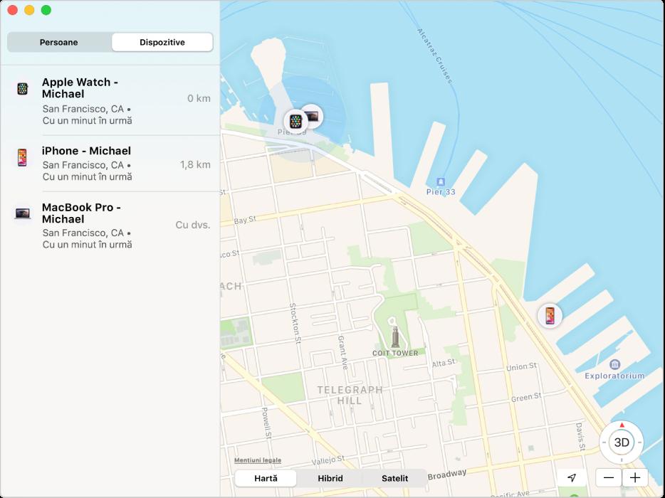 Aplicația Găsire afișând în bara laterală o listă de dispozitive și localizările acestora pe o hartă, în partea dreaptă.