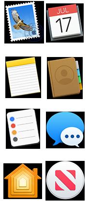 Symboler för Mail, Kalender, Anteckningar, Kontakter, Påminnelser, Meddelanden, Hem och News
