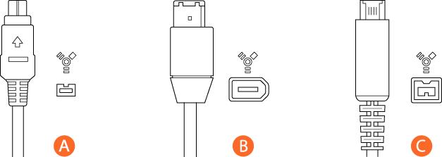Tre FireWire-kontakter: A är en kontakt med 4 stift, B med 6, C med 9.
