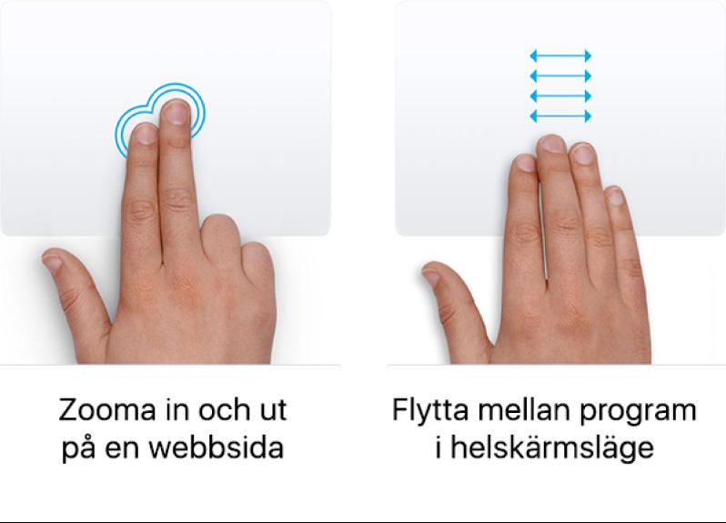 Exempel på gester på styrplattan för att zooma in och ut från en webbsida och växla mellan program i helskärmsläge.