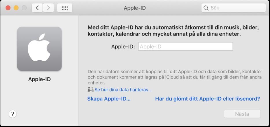 Dialogrutan för Apple-ID där ett Apple-ID kan anges. Med länken Skapa ett Apple-ID som visas kan du skapa ett nytt Apple-ID.