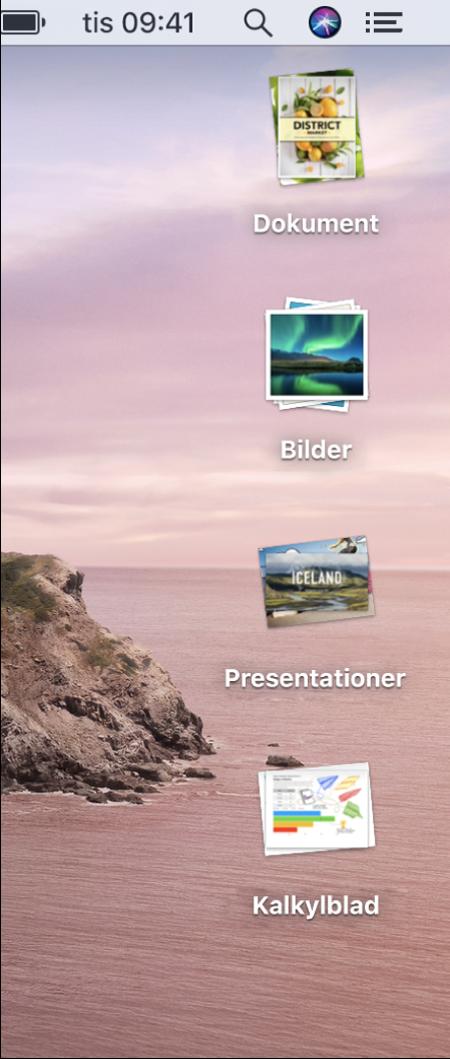 Ett datorskrivbord med fyra travar – för dokument, bilder, presentationer och kalkylblad – längs högerkanten på skärmen.