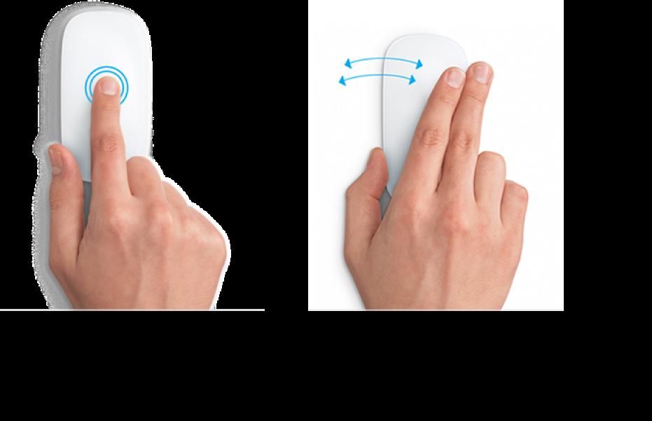 Exempel på musgester för att zooma in och ut från en webbsida och växla mellan program i helskärmsläge.