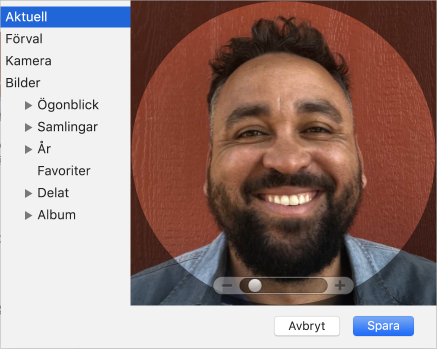 Bilddialogruta för Apple-ID där en bild lagts till för att representera användarens Apple-ID.