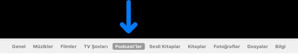 Podcast'ler'i seçili olarak gösteren düğme çubuğu.