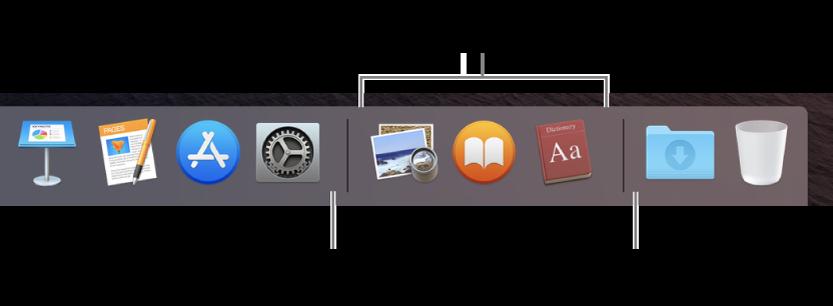 Đầu bên phải của Dock. Thêm các ứng dụng vào bên trái của phần các ứng dụng được sử dụng gần đây và thêm các thư mục vào bên phải của phần đó, nơi ngăn xếp Tải về và Thùng rác được đặt.