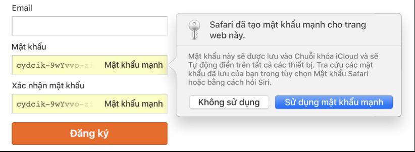 Một hộp thoại đang hiển thị Safari đã tạo một mật khẩu mạnh cho một trang web sẽ được lưu vào Chuỗi khóa iCloud của người dùng và có sẵn để Tự động điền trên các thiết bị của người dùng.