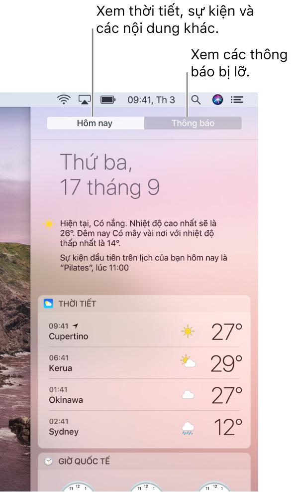 Chế độ xem Hôm nay đang hiển thị thời tiết tại ba vị trí. Bấm vào tab Thông báo để xem các thông báo bị lỡ.