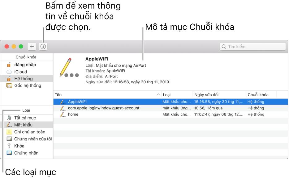 Các khu vực chính của cửa sổ Truy cập chuỗi khóa: danh sách các danh mục, danh sách các mục chuỗi khóa và mô tả mục chuỗi khóa.