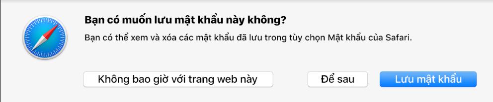 Hộp thoại hỏi liệu bạn có muốn lưu mật khẩu cho trang web hay không.