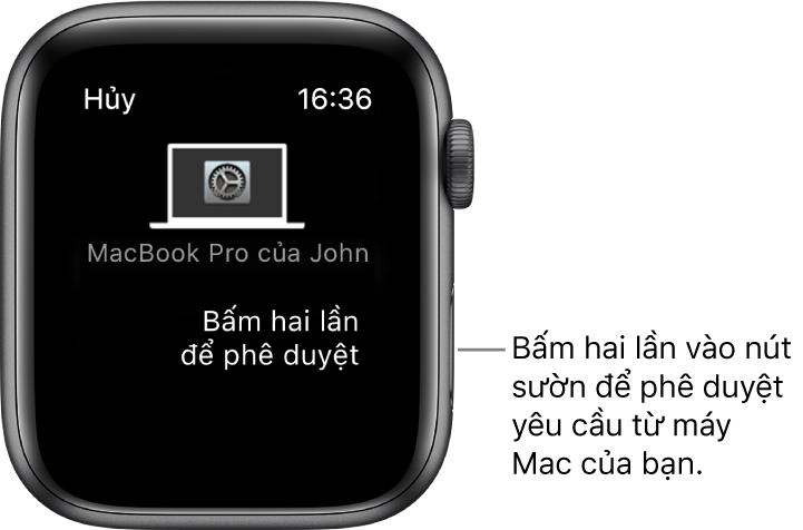 Apple Watch đang hiển thị yêu cầu phê duyệt từ MacBook Pro.