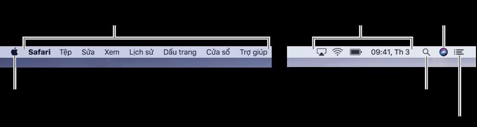 Thanh menu. Ở bên trái là menu Apple và các menu ứng dụng. Ở bên phải là các menu trạng thái và các biểu tượng Spotlight, Siri và Trung tâm thông báo.