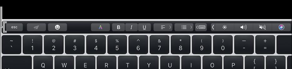 「觸控欄」位於鍵盤的最上方。