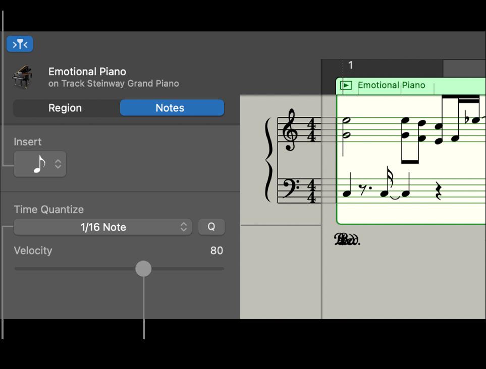 L'inspector de l'editor de partitura, en mode Notes, i els controls.