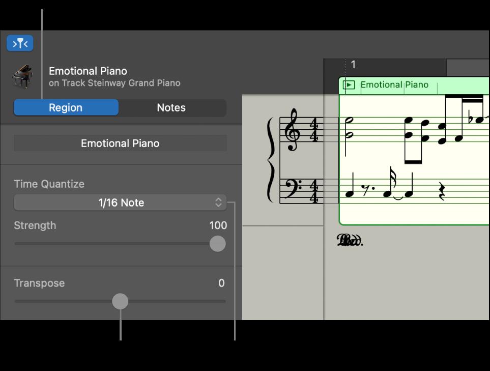 L'inspector de l'editor de partitura, en mode Passatge, i els controls.