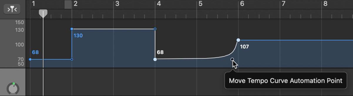 La pista Tempo, que mostra la creació d'una corba de tempo.