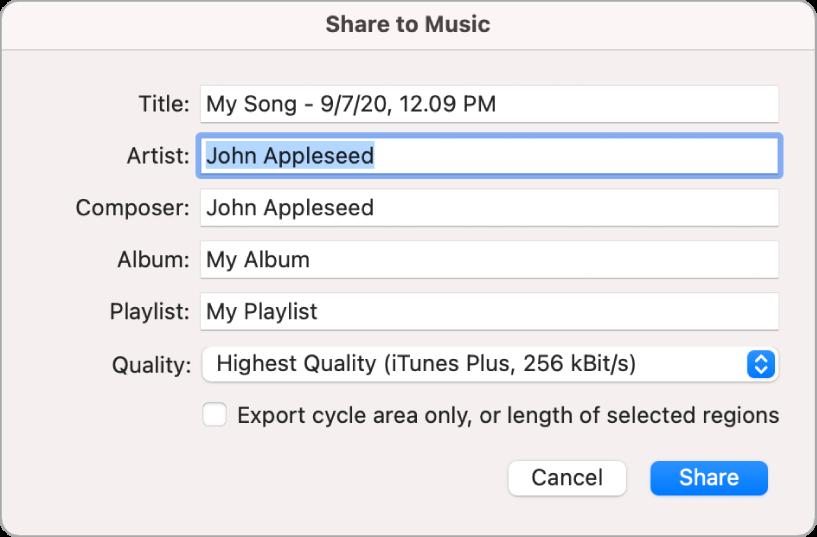 """Quadre de diàleg """"Compartir amb l'app Música""""."""