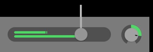 Záhlaví stopy se zobrazeným jezdcem hlasitosti