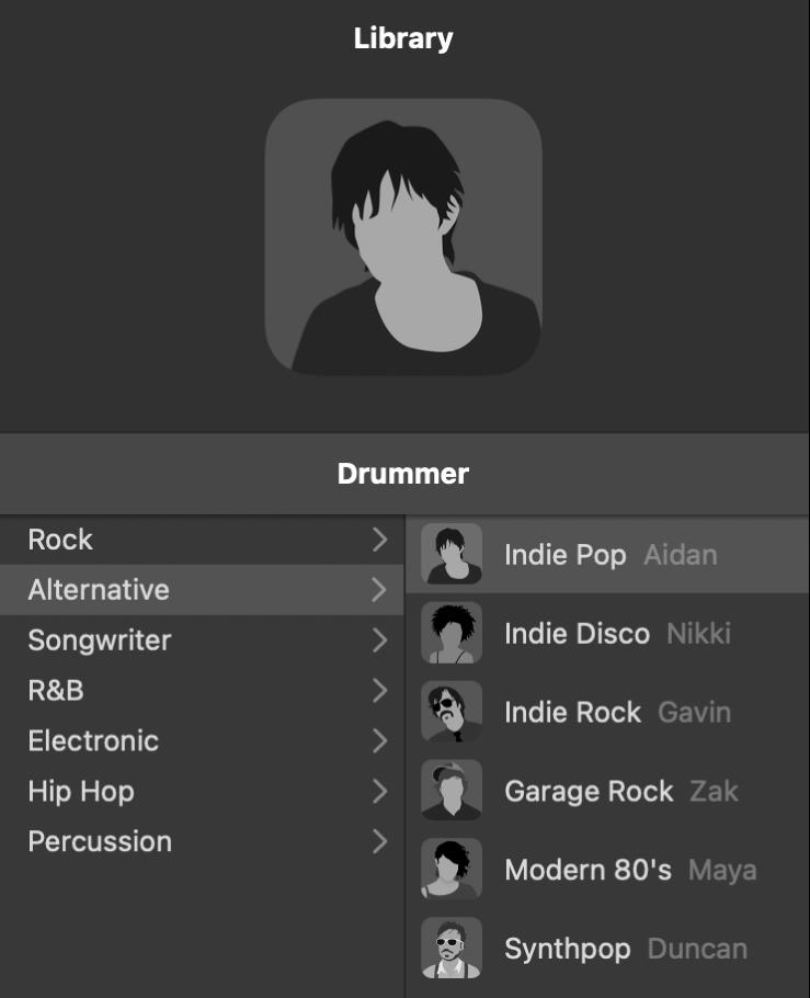 Kort til en trommeslager i Drummer-værktøjet.