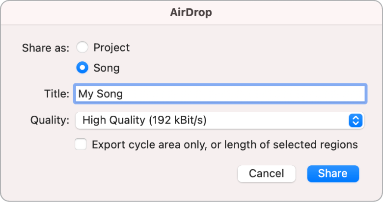 """Dialogfenster """"AirDrop"""""""