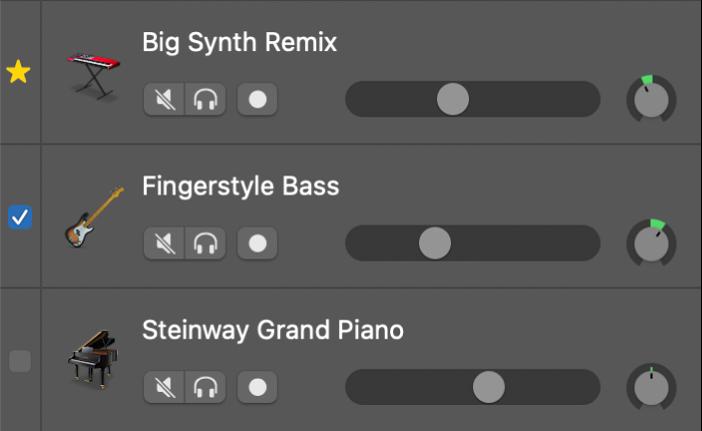 Markierungsfelder für Spuren, die mit der Groove-Spur abgeglichen werden
