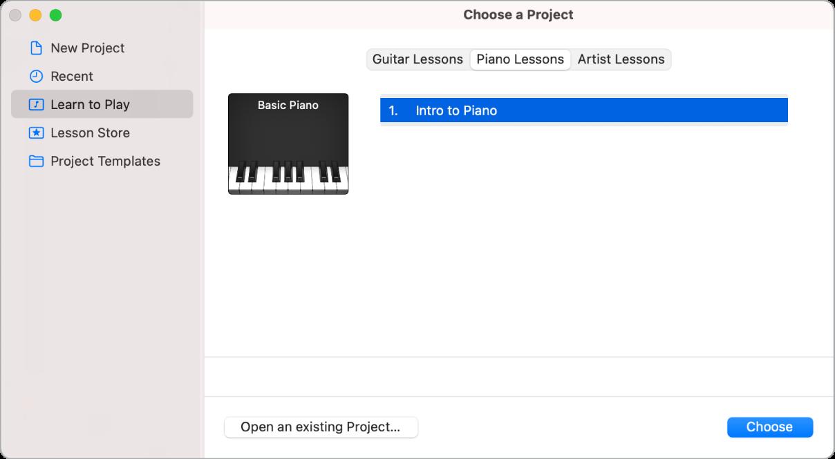 """Auswählen einer Übung """"Instrument lernen"""" in der Projektauswahl"""