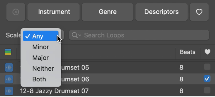 "Geöffnetes Einblendmenü ""Tonart"" im Loop-Browser"
