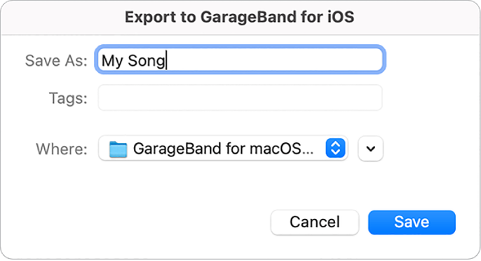Export to GarageBand for iOS.