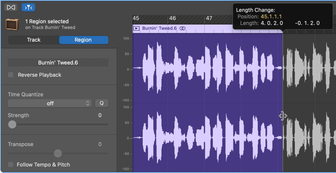 Trimming a region in the Audio Editor, showing the Trim pointer and Help tag.