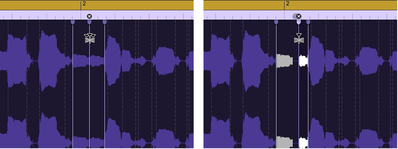 Two audio regions showing the region before and after a flex marker is moved to the left.