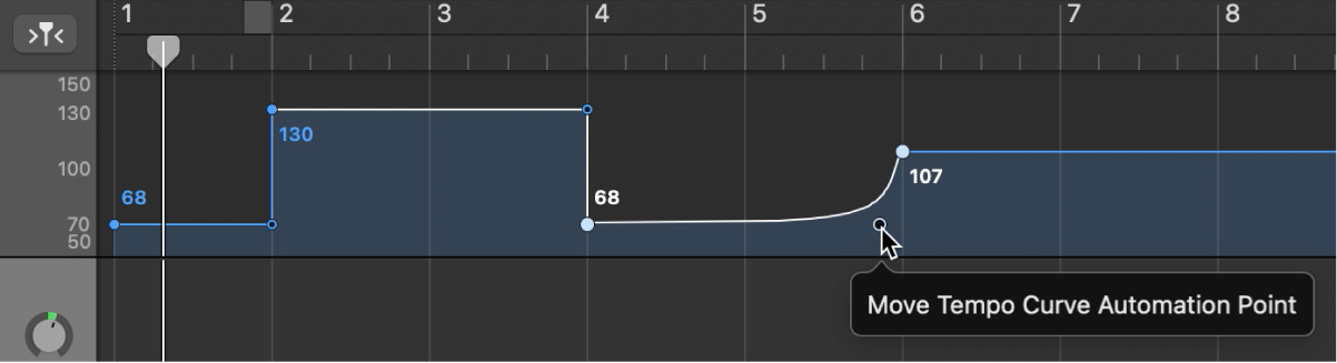 Tempo track, showing creating a tempo curve.