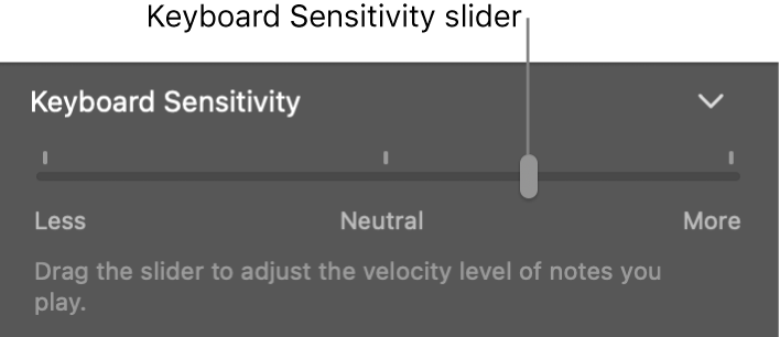 Keyboard Sensitivity slider in the Smart Controls inspector.