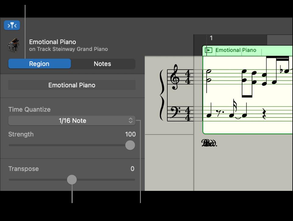 Score Editor inspector in Region mode, showing controls.