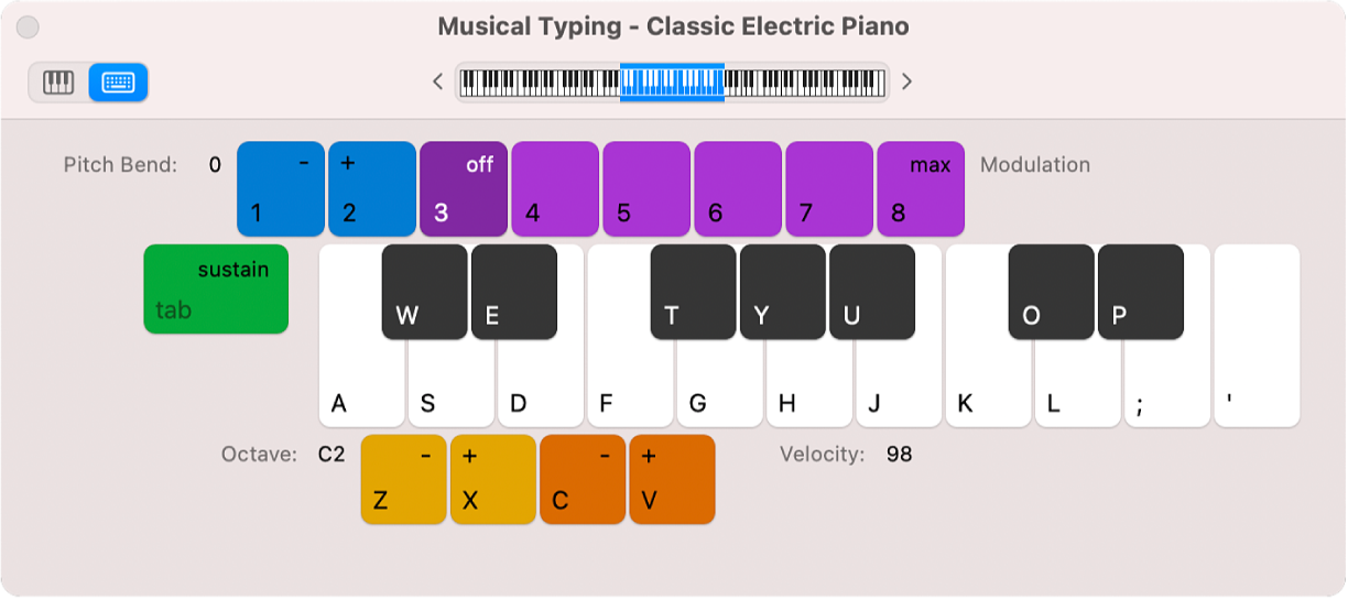 Musical Typing window.