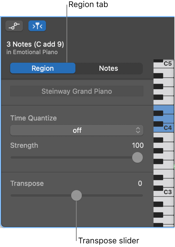 Piano Roll Editor inspector, showing Region tab and Transpose slider.